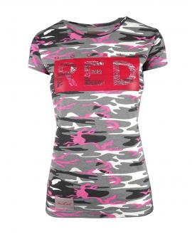 DR W Neon Pink Camo T-shirt Flower logo